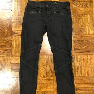 AG dark wash skinny jeans with zippers 27